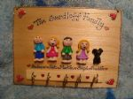 5 CHARACTER LARGE FAMILY SIGN PLAQUE KEY HOLDER PEOPLE PETS CAT DOG BIRD ANY PHRASING UNIQUE GIFT